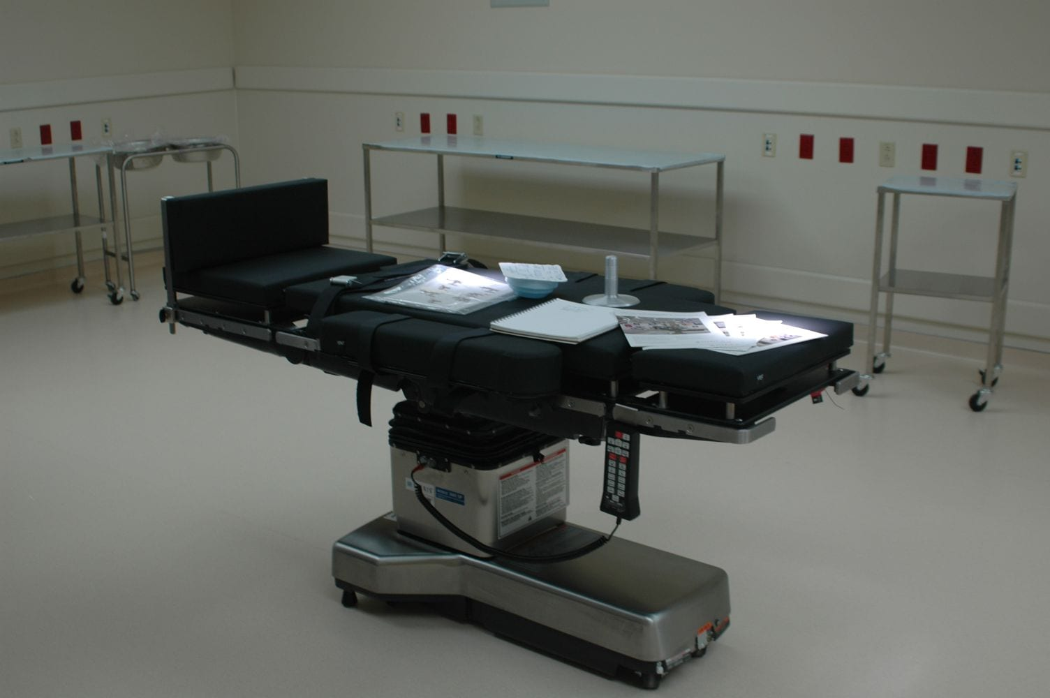 Operating chair with papers on top