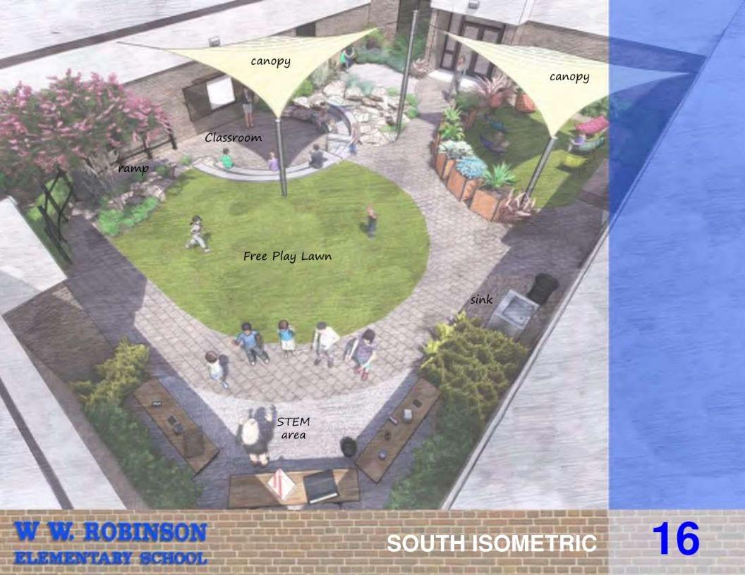 Top corner view of outdoor area rendering